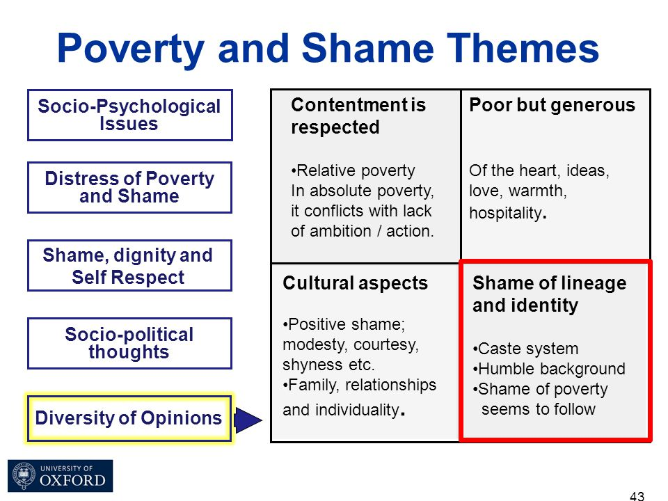 43 Socio-Psychological Issues Poverty and Shame Themes Distress of Poverty and Shame Shame, dignity and Self Respect Socio-political thoughts Diversit