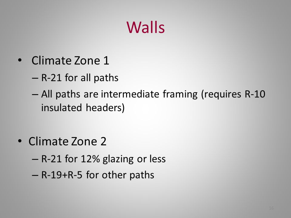 16 Walls Climate Zone 1 – R-21 for all paths – All paths are intermediate framing (requires R-10 insulated headers) Climate Zone 2 – R-21 for 12% glaz