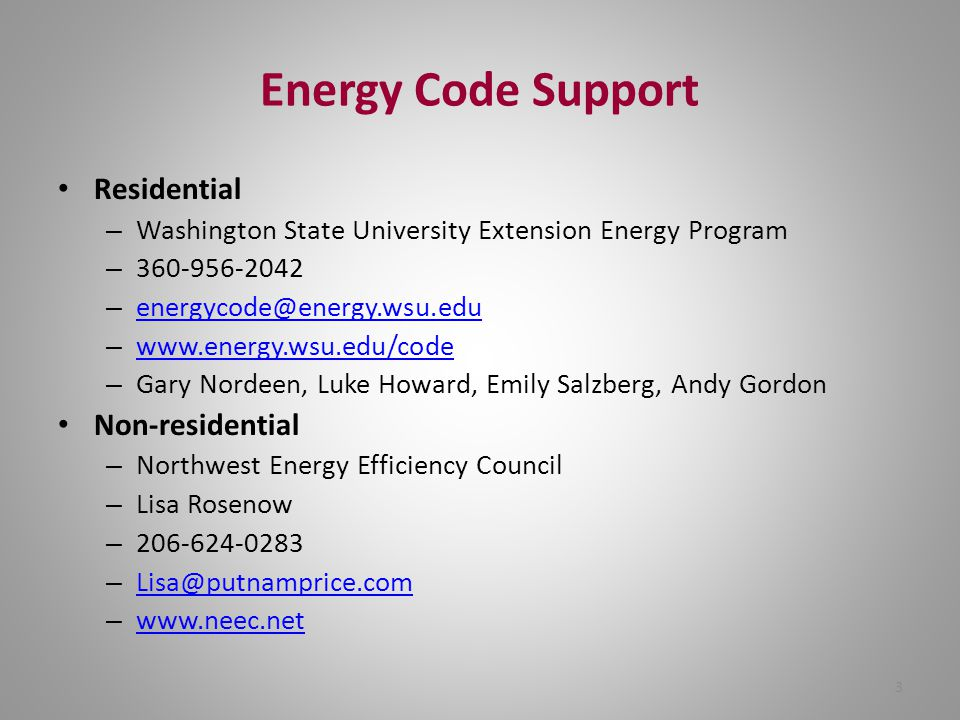 3 Energy Code Support Residential – Washington State University Extension Energy Program – 360-956-2042 – energycode@energy.wsu.edu energycode@energy.