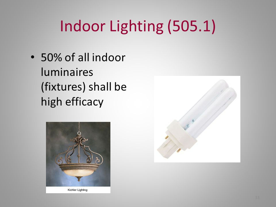 Indoor Lighting (505.1) 50% of all indoor luminaires (fixtures) shall be high efficacy 33