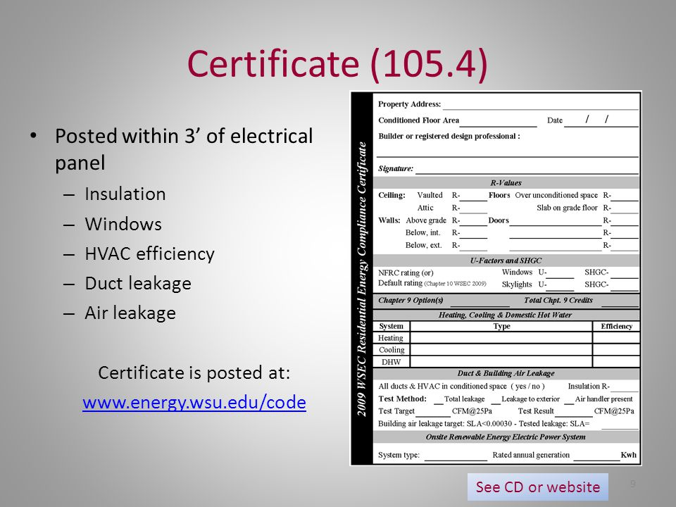 Certificate (105.4) Posted within 3' of electrical panel – Insulation – Windows – HVAC efficiency – Duct leakage – Air leakage Certificate is posted a