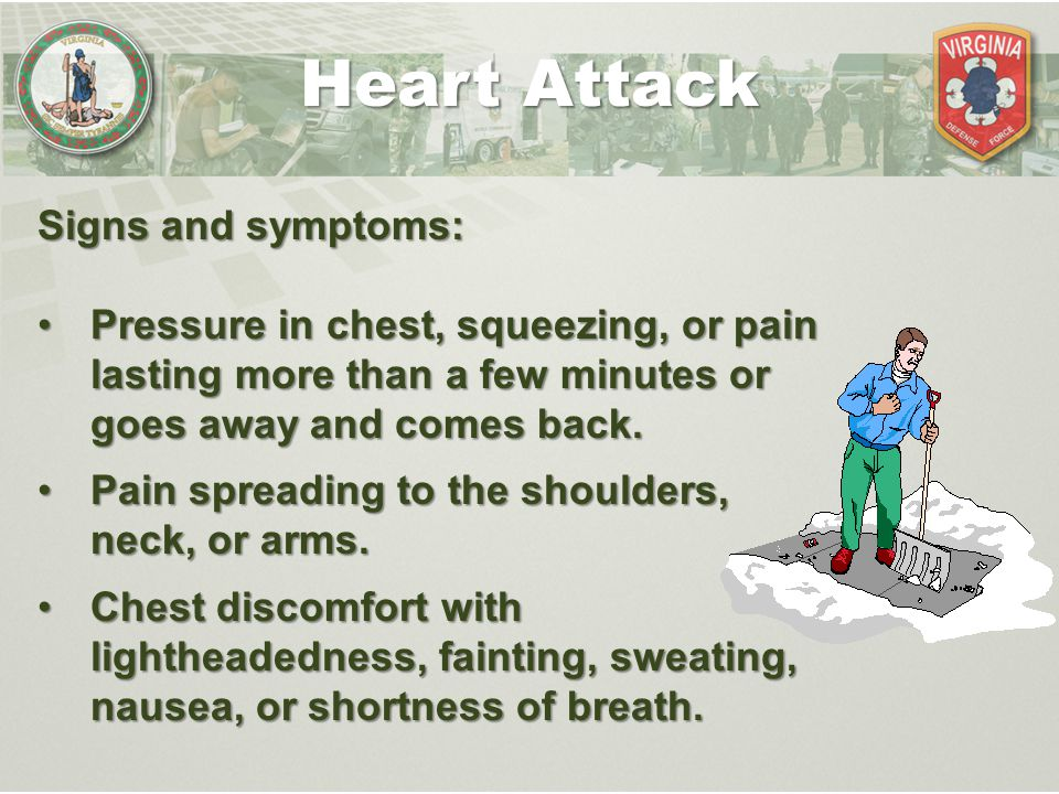 Signs and symptoms: Pressure in chest, squeezing, or pain lasting more than a few minutes or goes away and comes back.Pressure in chest, squeezing, or