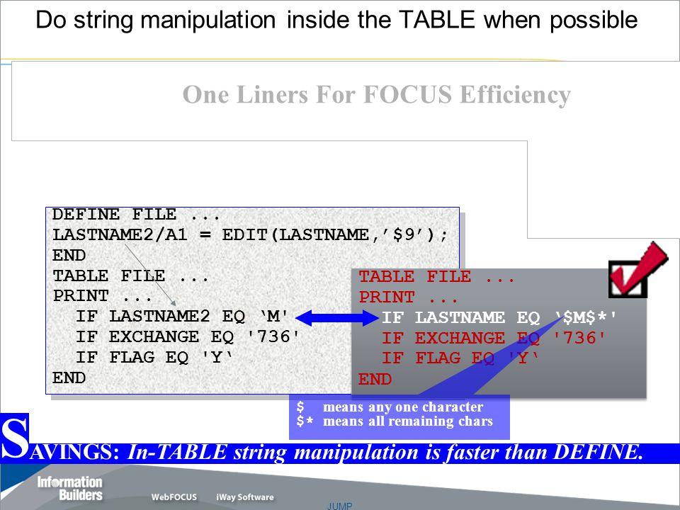 JUMP Copyright 2007, Information Builders. Slide 21 DEFINE FILE...