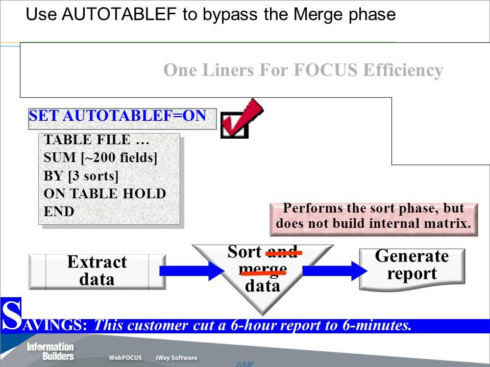 "JUMP Copyright 2007, Information Builders. Slide 5 Performs the sort phase, but does not build internal matrix. Sort and merge data Ellen Degeneres ""M"