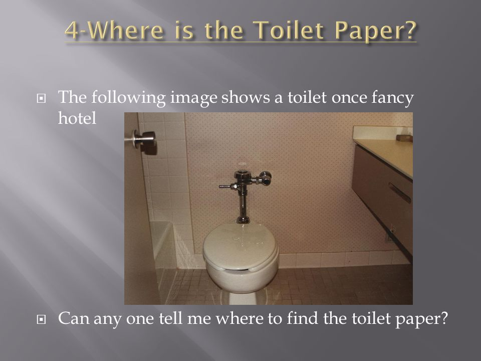  The following image shows a toilet once fancy hotel  Can any one tell me where to find the toilet paper