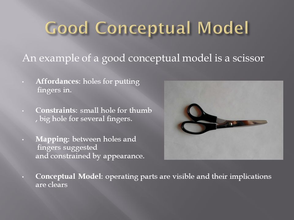 An example of a good conceptual model is a scissor Affordances : holes for putting fingers in.