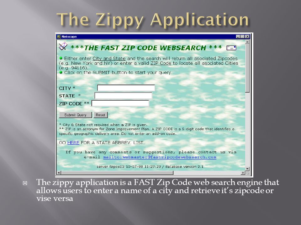 After submitting a query, the results appear as follows: Associated ZIP Codes Associated Cities 10020 New York 10021...