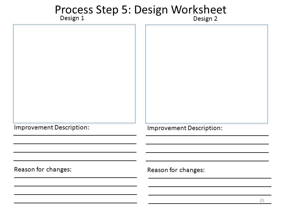 Design 1 Improvement Description: Reason for changes: Design 2 Improvement Description: Reason for changes: Process Step 5: Design Worksheet ___________________________________ ___________________________________ 25
