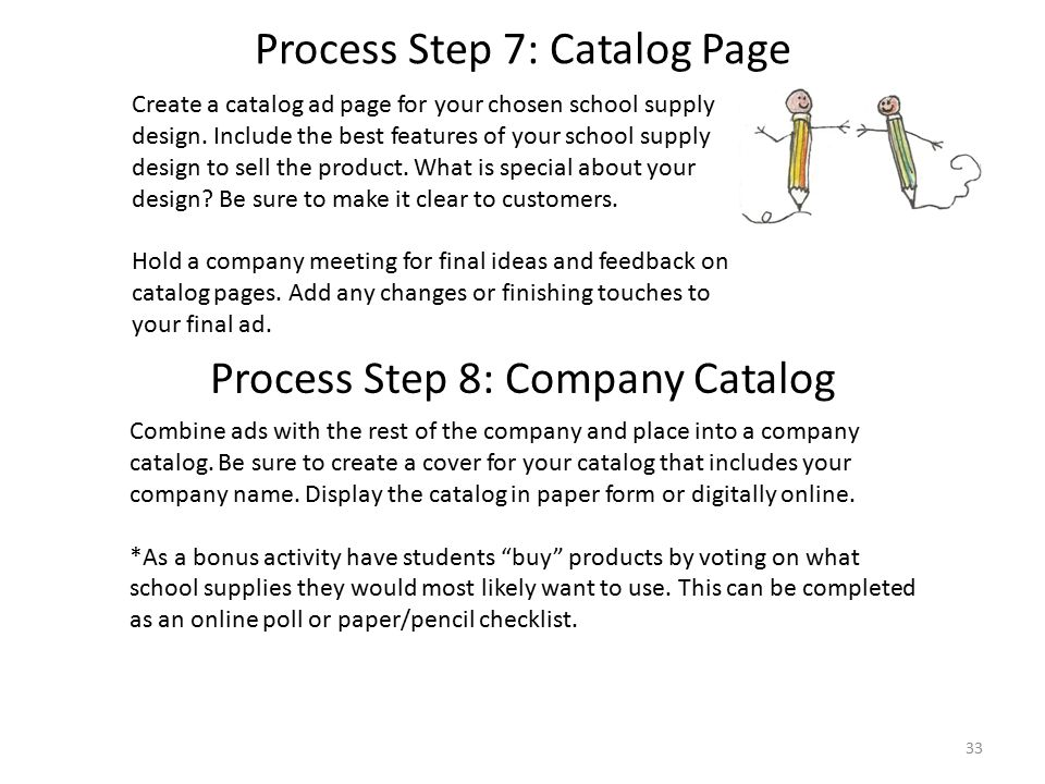 Create a catalog ad page for your chosen school supply design.
