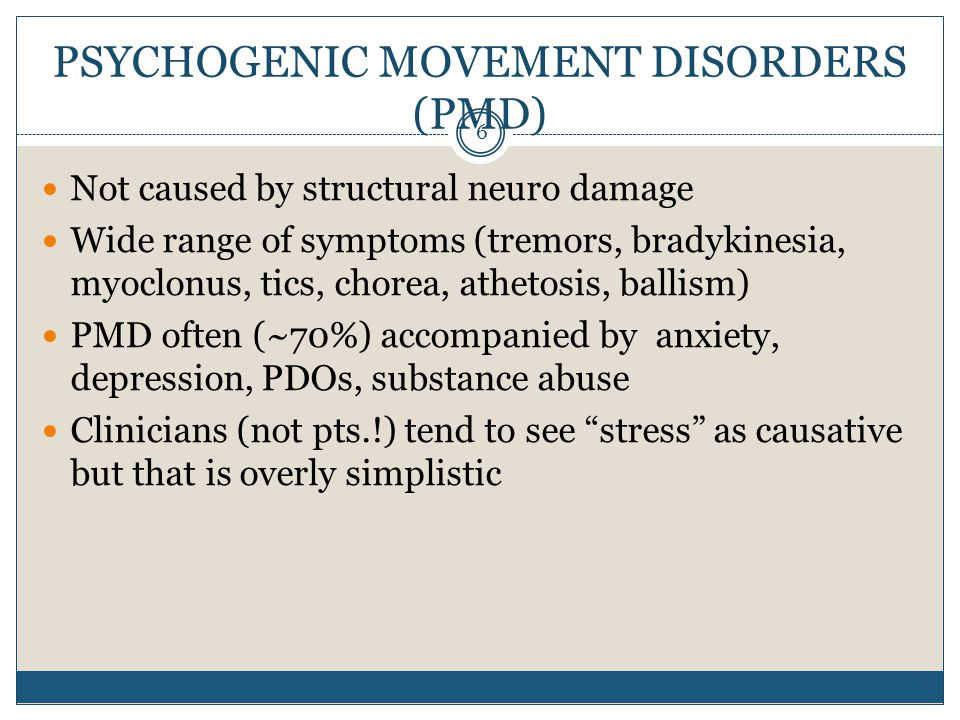 PMD Gait Disorders 37 Often exaggerated slowness – walking through thick soup Exaggerated effort, exaggerated fatigue Convulsive shaking, scissor walking Uneconomic postures including camptocormia ( bent tree ) Knee bucking, pained affect May have dramatic fluctuations over minutes (rare in neuro DO)