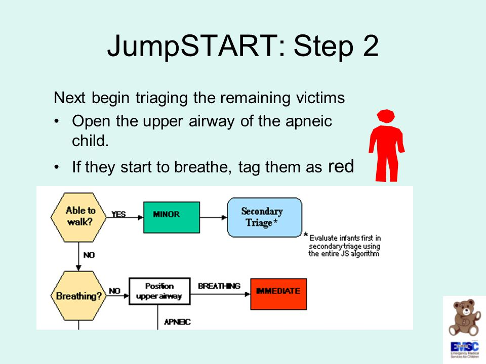 JumpSTART: Step 2 Next begin triaging the remaining victims Open the upper airway of the apneic child. If they start to breathe, tag them as red