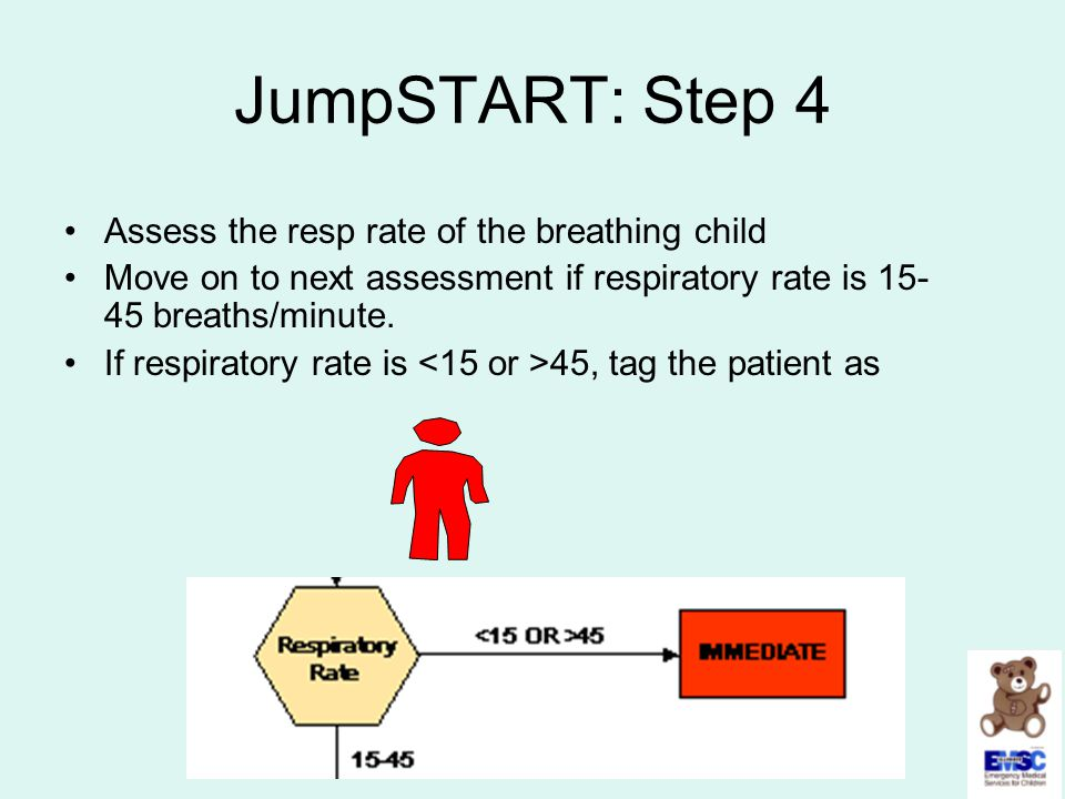 JumpSTART: Step 4 Assess the resp rate of the breathing child Move on to next assessment if respiratory rate is 15- 45 breaths/minute. If respiratory