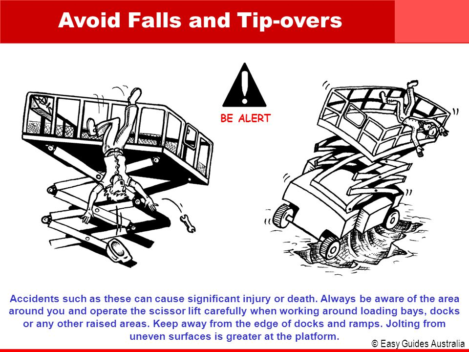 © Easy Guides Australia Avoid Falls and Tip-overs Accidents such as these can cause significant injury or death. Always be aware of the area around yo