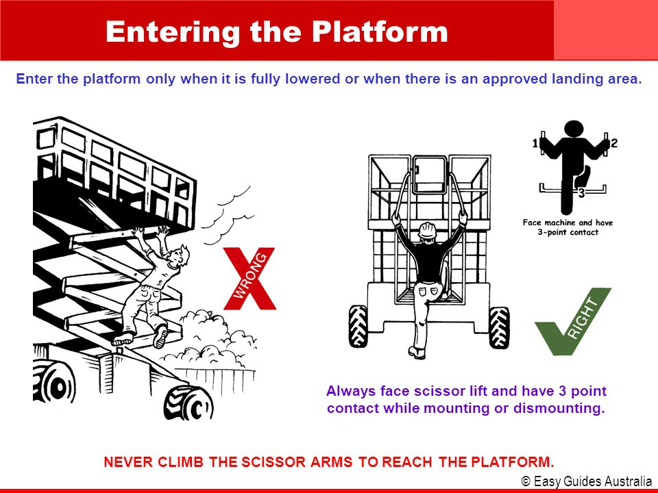 © Easy Guides Australia Entering the Platform Enter the platform only when it is fully lowered or when there is an approved landing area. Always face