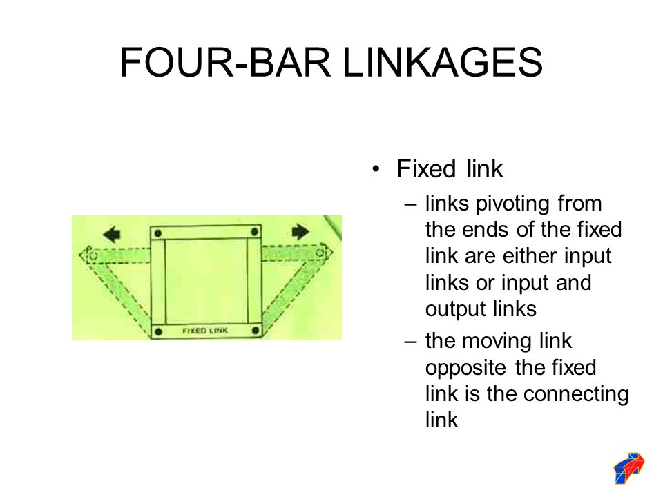 FOUR-BAR LINKAGES Fixed link –links pivoting from the ends of the fixed link are either input links or input and output links –the moving link opposite the fixed link is the connecting link