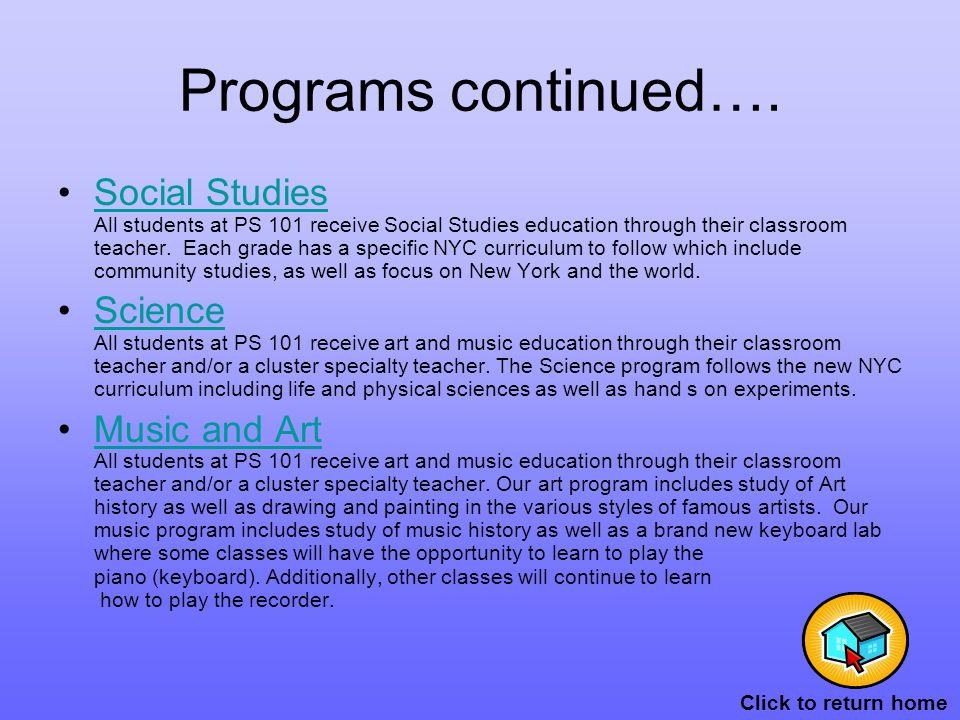 Programs continued….