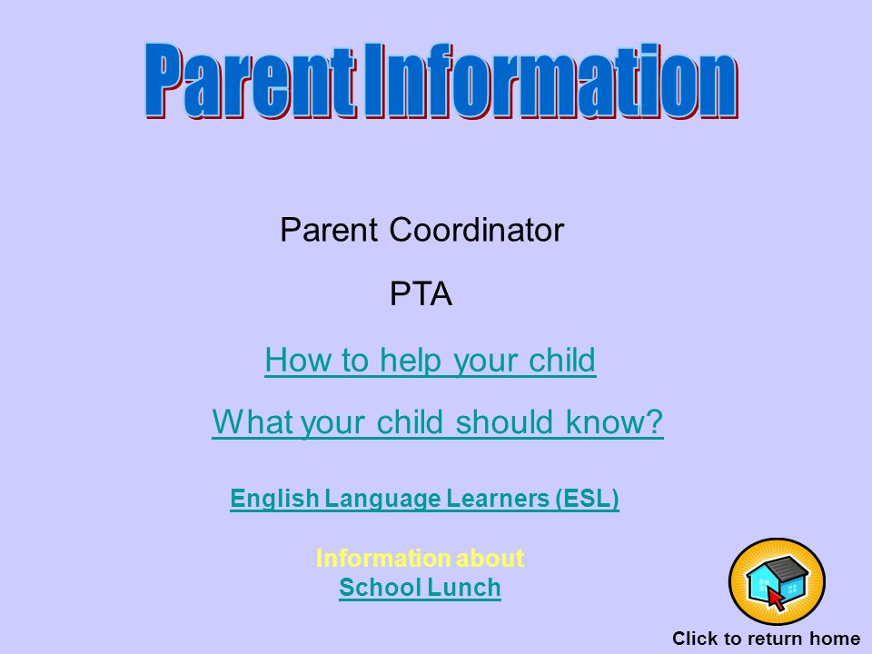 PTA Parent Coordinator How to help your child What your child should know.
