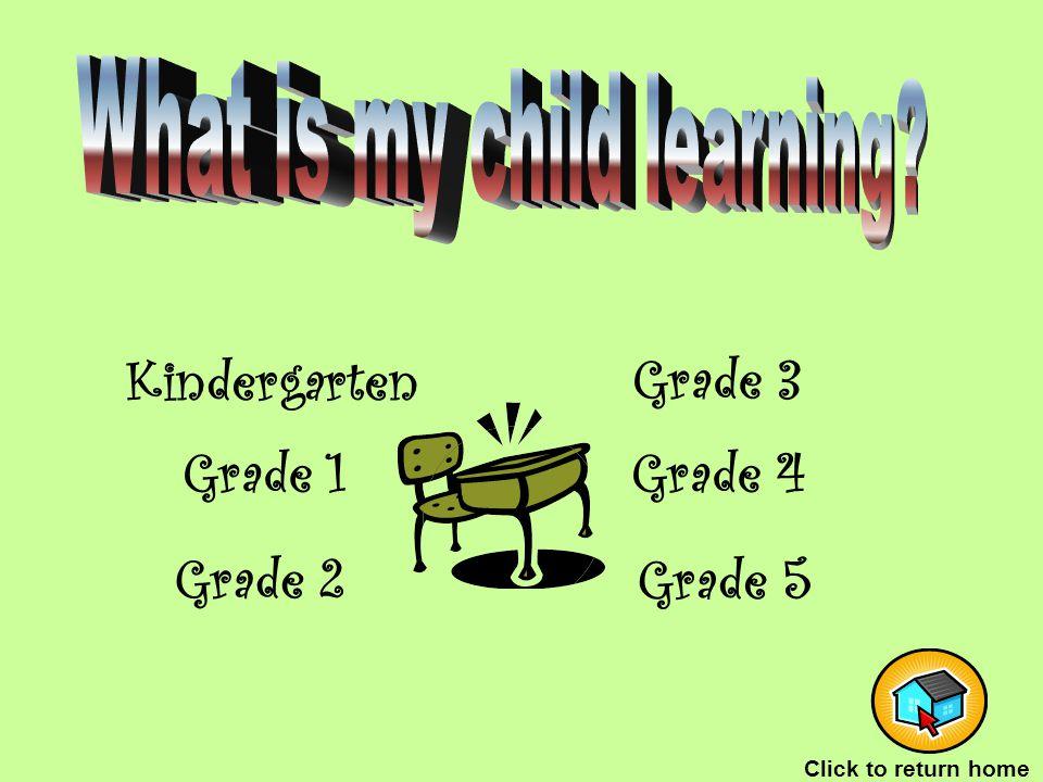 Grade 1 Kindergarten Grade 2 Grade 5 Grade 4 Grade 3 Click to return home