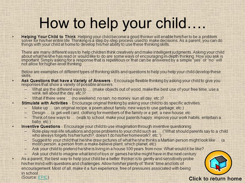 How to help your child….