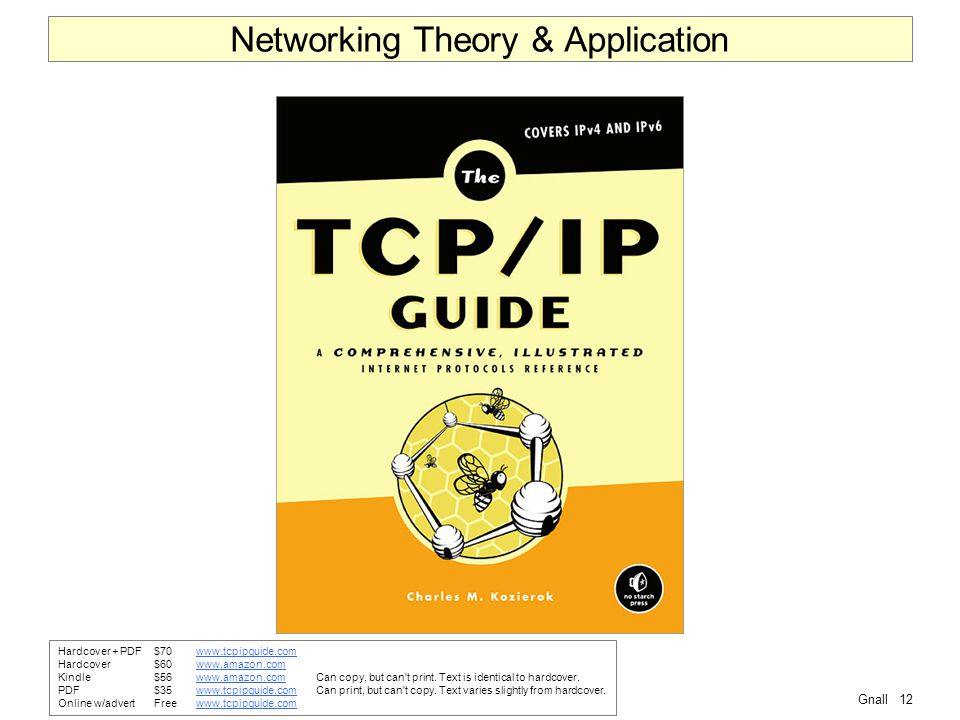 Gnall12 Networking Theory & Application Hardcover + PDF$70www.tcpipguide.comwww.tcpipguide.com Hardcover$60www.amazon.comwww.amazon.com Kindle$56www.amazon.comCan copy, but can t print.