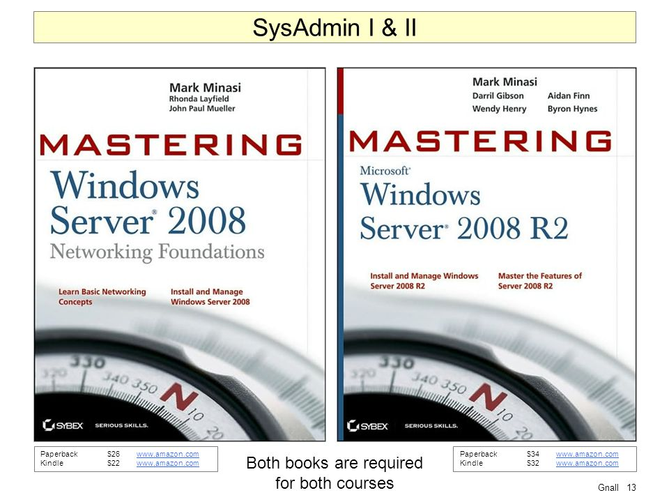 Gnall13 SysAdmin I & II Both books are required for both courses Paperback$26www.amazon.comwww.amazon.com Kindle$22www.amazon.comwww.amazon.com Paperback$34www.amazon.comwww.amazon.com Kindle$32www.amazon.comwww.amazon.com