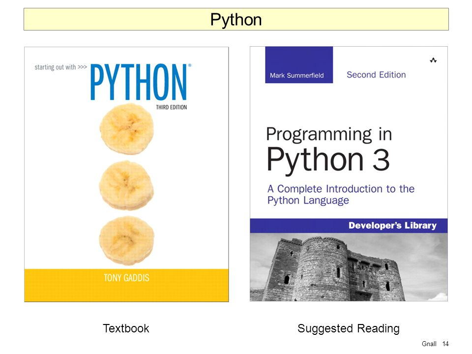 Gnall14 Python TextbookSuggested Reading