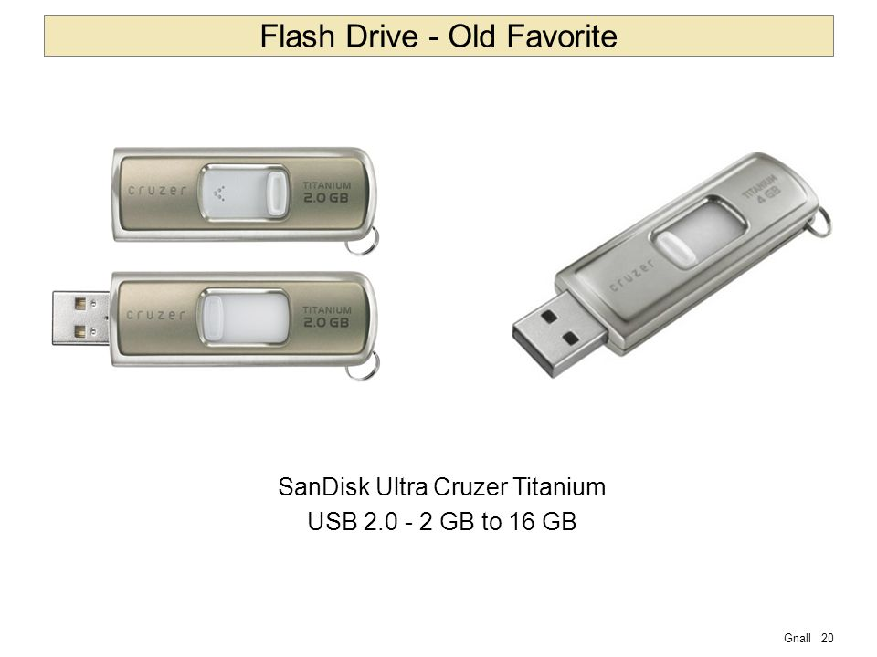 Gnall20 Flash Drive - Old Favorite SanDisk Ultra Cruzer Titanium USB 2.0 - 2 GB to 16 GB