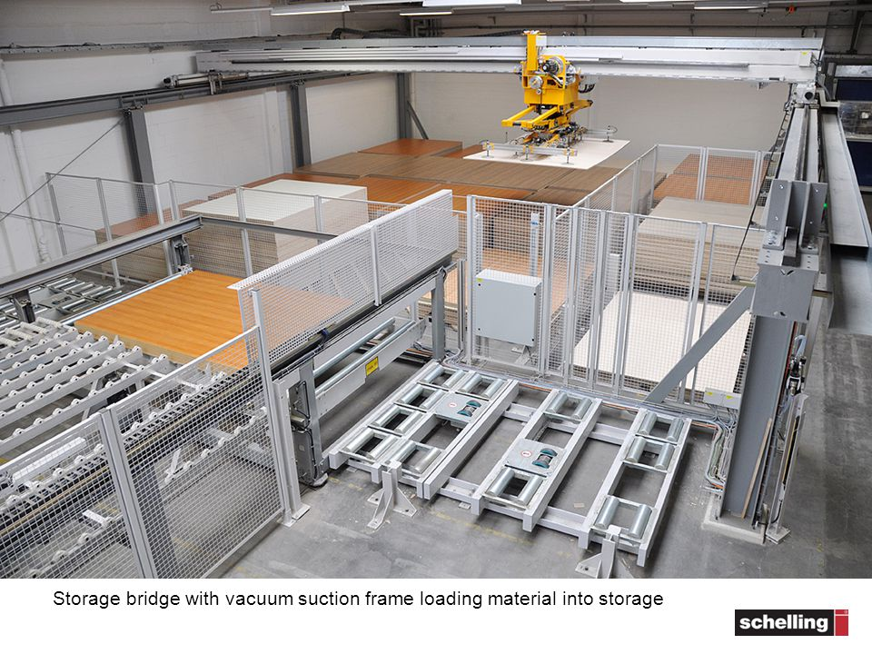 Storage bridge with vacuum suction frame loading material into storage