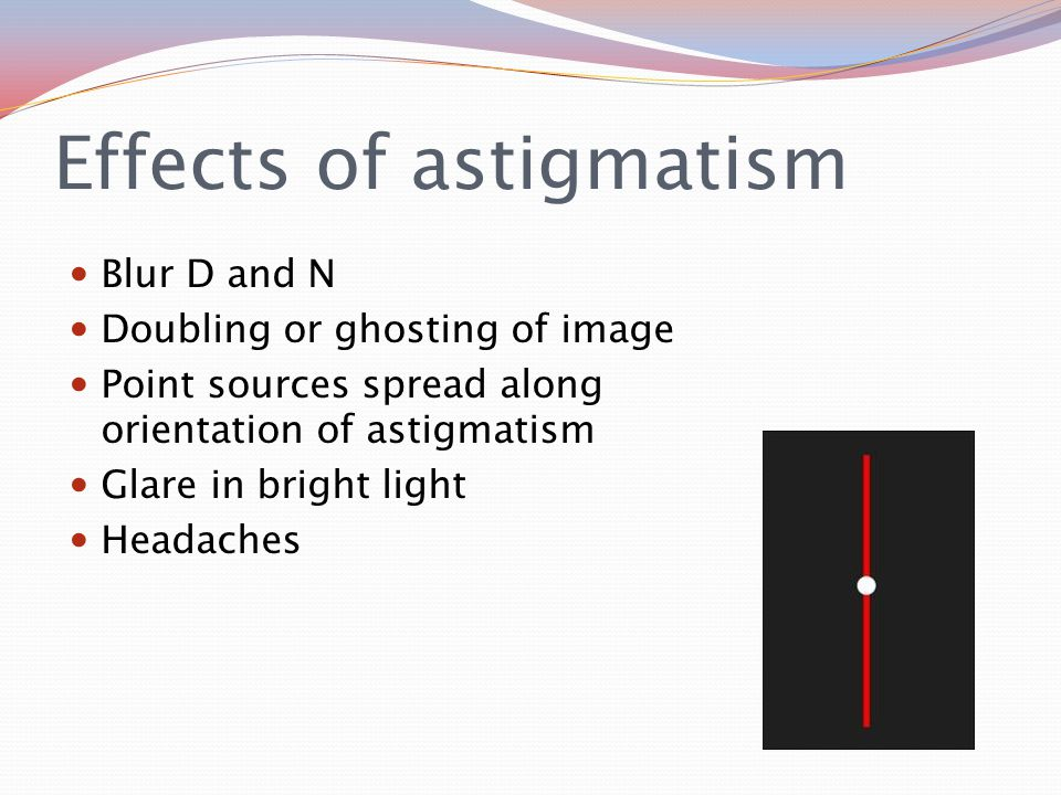 Effects of astigmatism Blur D and N Doubling or ghosting of image Point sources spread along orientation of astigmatism Glare in bright light Headaches