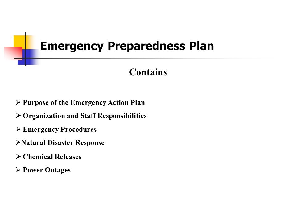 Emergency Preparedness Plan At N E P