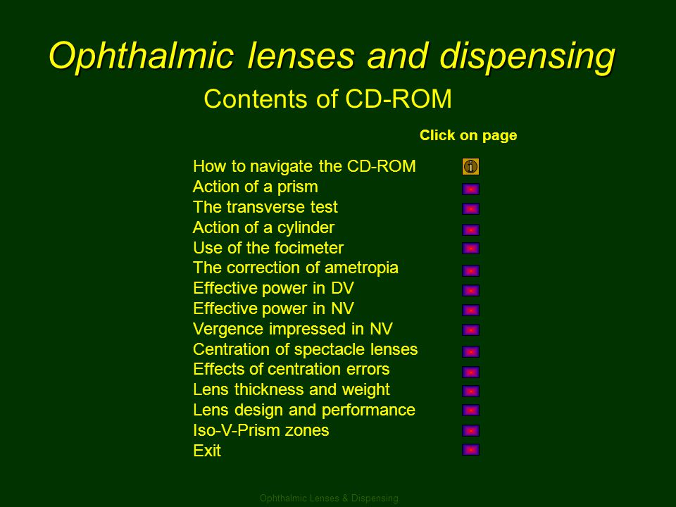 Ophthalmic lenses and dispensing Contents of CD-ROM How to navigate the CD-ROM Action of a prism The transverse test Action of a cylinder Use of the f