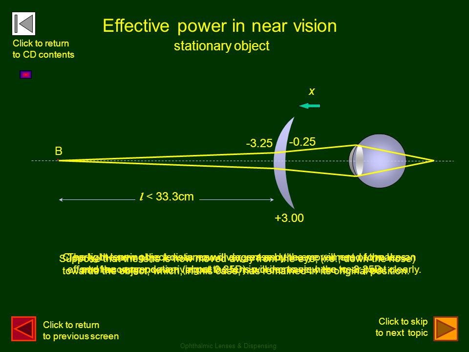 Effective power in near vision +3.00 B x l < 33.3cm -3.25 -0.25 stationary object Suppose that the lens is now moved away from the eye, (i.e., down th