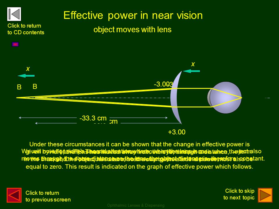 +3.00 We will now consider a second situation where, when the lens is moved, the object also moves through the same distance as the lens, the object d