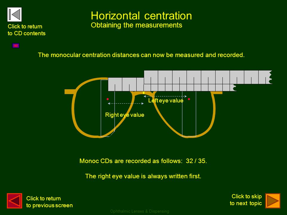 .. Monoc CDs are recorded as follows: 32 / 35. The right eye value is always written first. Horizontal centration Obtaining the measurements Ophthalmi