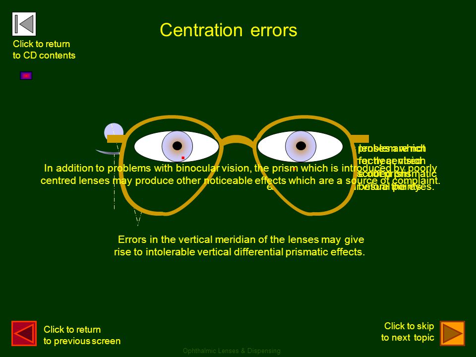 Centration errors Ophthalmic Lenses & Dispensing The most obvious problem which arises from incorrectly centred lenses is that unprescribed prismatic