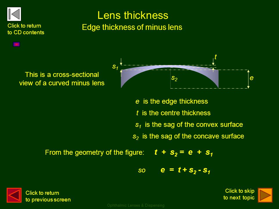Lens thickness Edge thickness of minus lens s2s2 This is a cross-sectional view of a curved minus lens e is the edge thickness t is the centre thickne