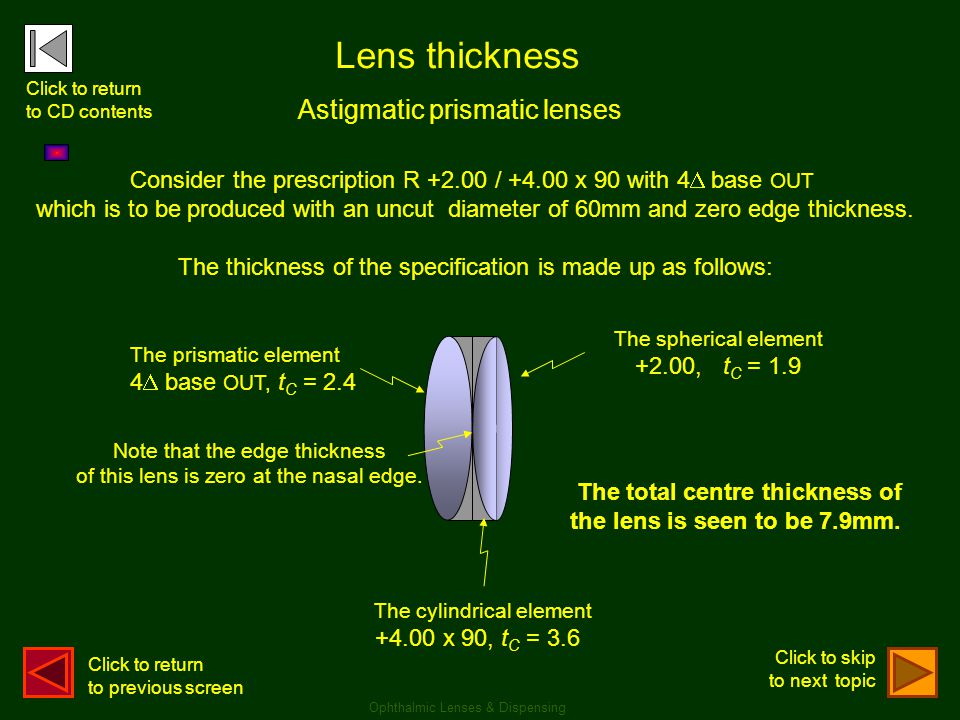 The spherical element +2.00, t C = 1.9 Astigmatic prismatic lenses Lens thickness Consider the prescription R +2.00 / +4.00 x 90 with 4  base OUT whi
