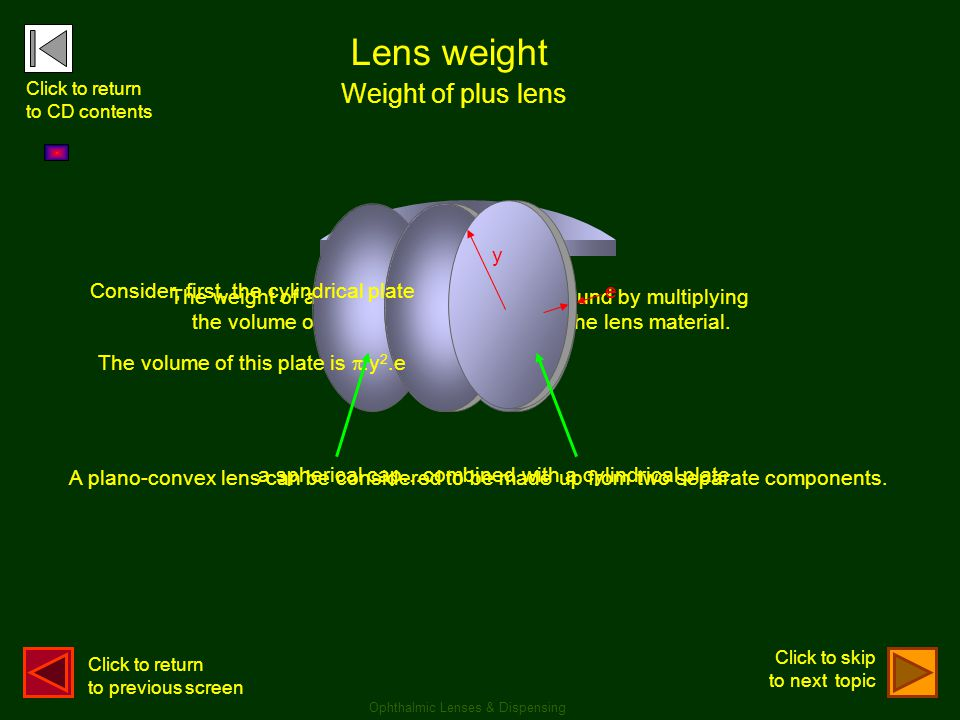 Lens weight Weight of plus lens Ophthalmic Lenses & Dispensing The weight of a circular spectacle lens is found by multiplying the volume of the lens