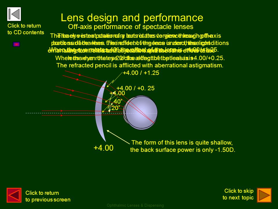 +4.00 Lens design and performance +4.00 The back vertex power of a lens is the vergence leaving the back surface when the incident vergence is zero, t