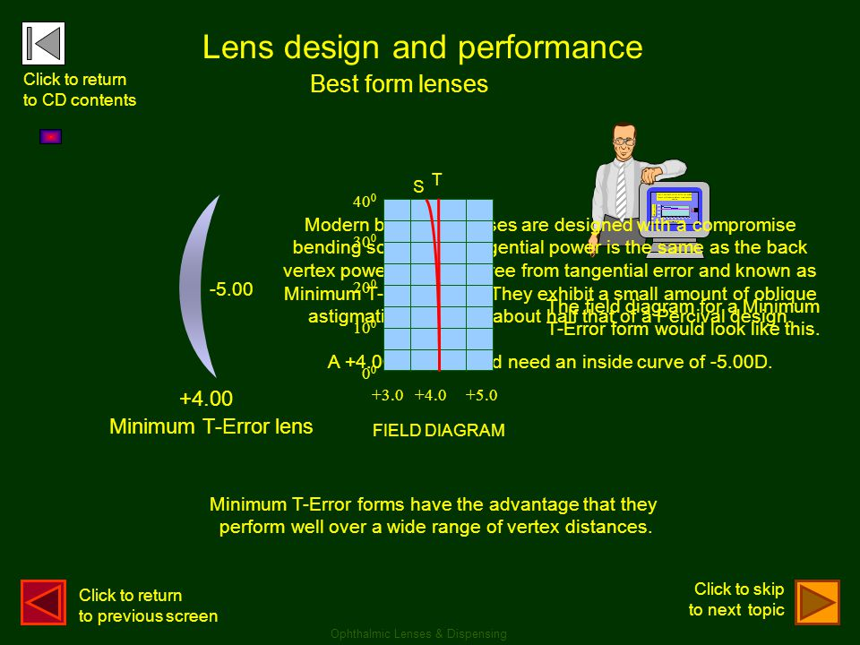 Lens design and performance Best form lenses +4.00 -5.00 Minimum T-Error lens Modern best-form lenses are designed with a compromise bending so that t