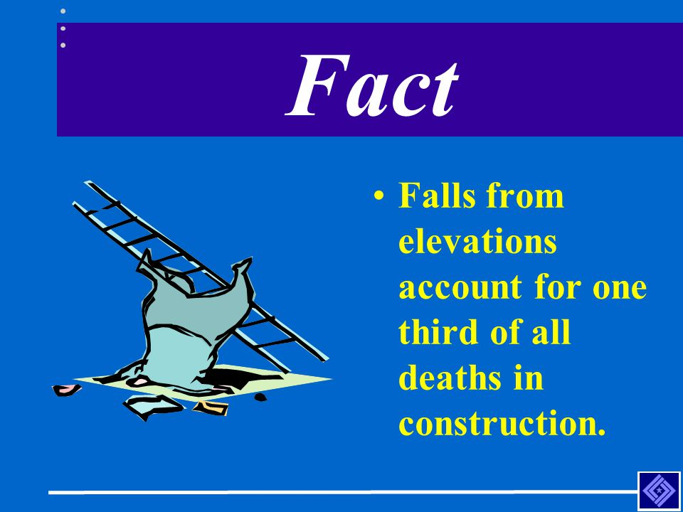 Fact Falls from elevations account for one third of all deaths in construction.