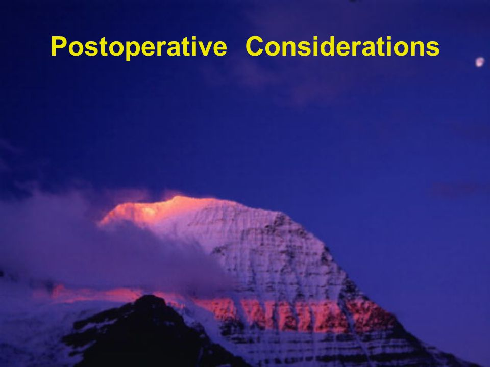 Postoperative Considerations