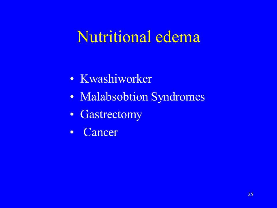 25 Nutritional edema Kwashiworker Malabsobtion Syndromes Gastrectomy Cancer
