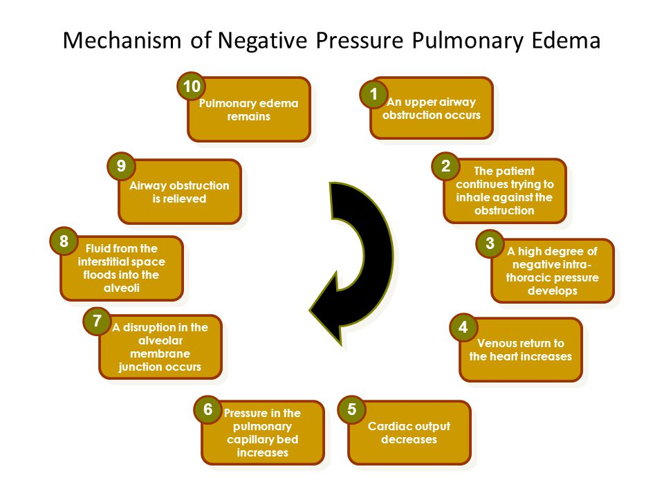 Mechanism of Negative Pressure Pulmonary Edema The patient continues trying to inhale against the obstruction 2 An upper airway obstruction occurs 1 A high degree of negative intra- thoracic pressure develops 3 Venous return to the heart increases 4 Cardiac output decreases 5 Pressure in the pulmonary capillary bed increases 6 A disruption in the alveolar membrane junction occurs 7 Fluid from the interstitial space floods into the alveoli 8 Airway obstruction is relieved 9 Pulmonary edema remains 10