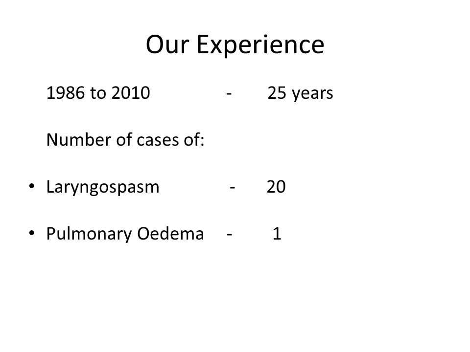 Our Experience 1986 to 2010 - 25 years Number of cases of: Laryngospasm - 20 Pulmonary Oedema - 1