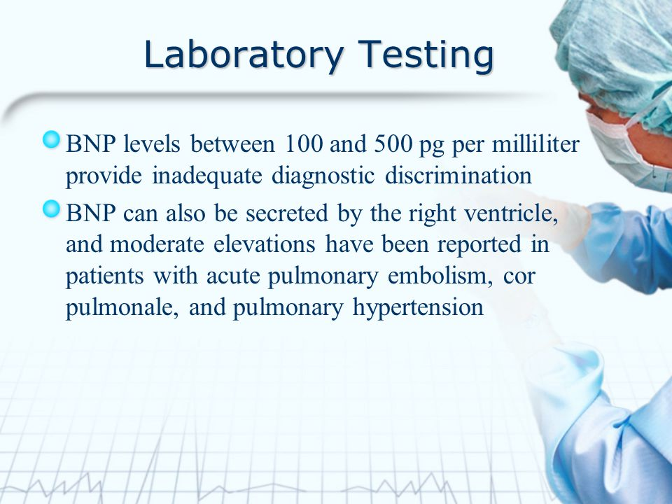 Laboratory Testing BNP levels between 100 and 500 pg per milliliter provide inadequate diagnostic discrimination BNP can also be secreted by the right