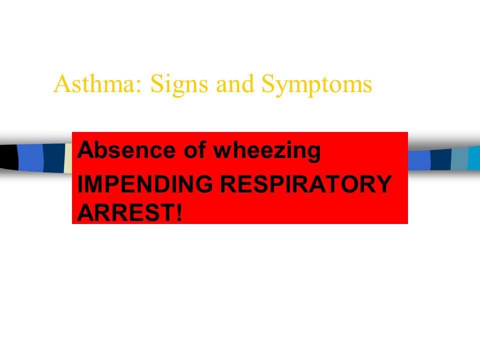 Asthma: Signs and Symptoms Absence of wheezing IMPENDING RESPIRATORY ARREST!