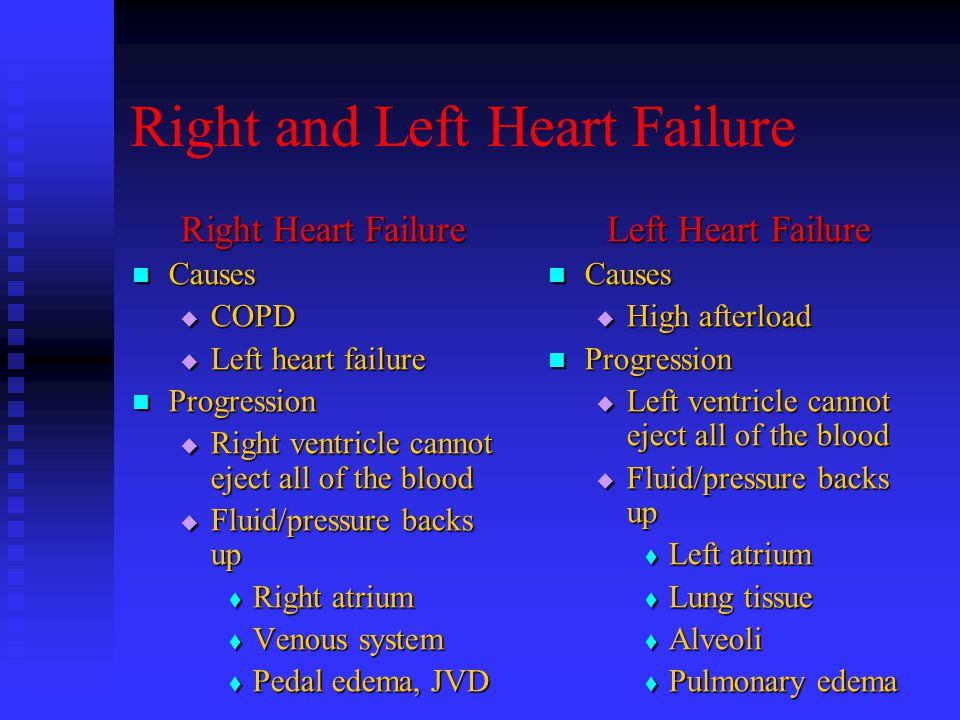 Right and Left Heart Failure Right Heart Failure Causes Causes  COPD  Left heart failure Progression Progression  Right ventricle cannot eject all of the blood  Fluid/pressure backs up  Right atrium  Venous system  Pedal edema, JVD Left Heart Failure Causes  High afterload Progression  Left ventricle cannot eject all of the blood  Fluid/pressure backs up  Left atrium  Lung tissue  Alveoli  Pulmonary edema