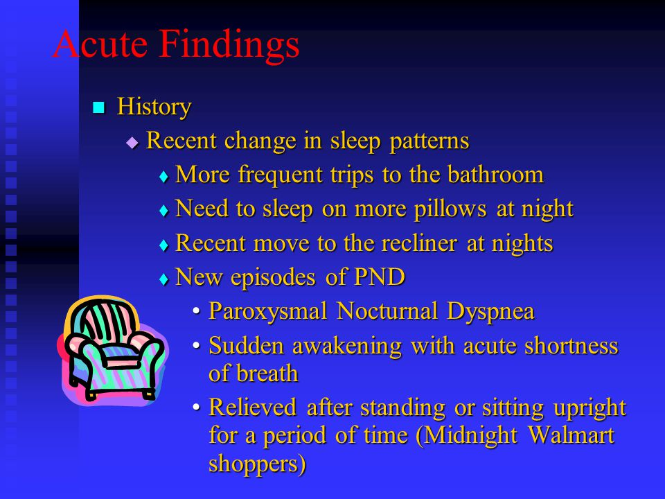 Acute Findings History History  Recent change in sleep patterns  More frequent trips to the bathroom  Need to sleep on more pillows at night  Recent move to the recliner at nights  New episodes of PND Paroxysmal Nocturnal DyspneaParoxysmal Nocturnal Dyspnea Sudden awakening with acute shortness of breathSudden awakening with acute shortness of breath Relieved after standing or sitting upright for a period of time (Midnight Walmart shoppers)Relieved after standing or sitting upright for a period of time (Midnight Walmart shoppers)