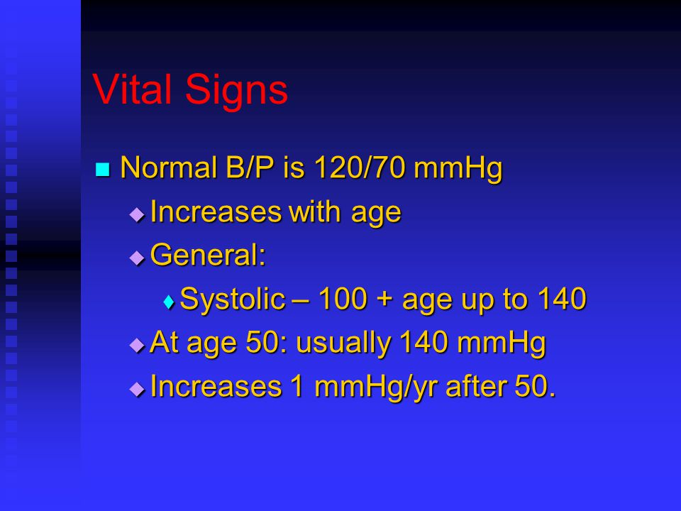 Vital Signs Normal B/P is 120/70 mmHg Normal B/P is 120/70 mmHg  Increases with age  General:  Systolic – 100 + age up to 140  At age 50: usually 140 mmHg  Increases 1 mmHg/yr after 50.
